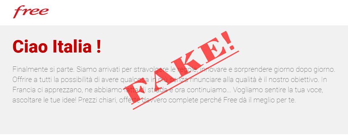 Sito web Free Mobile Fake