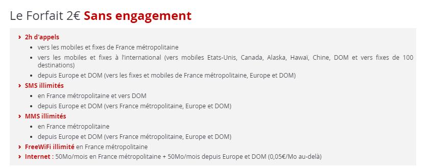 Forfait Free Mobile 2 euro
