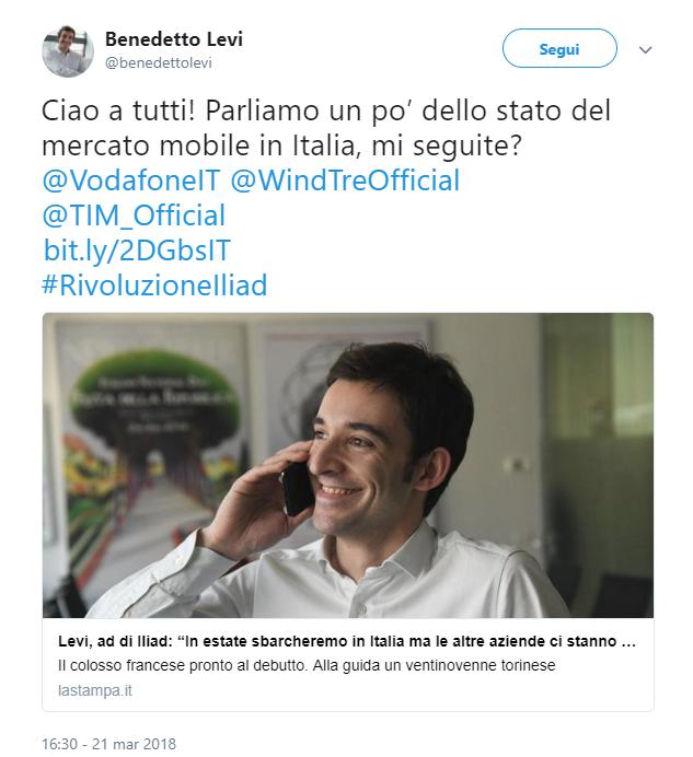 Primo tweet Benedetto Levi