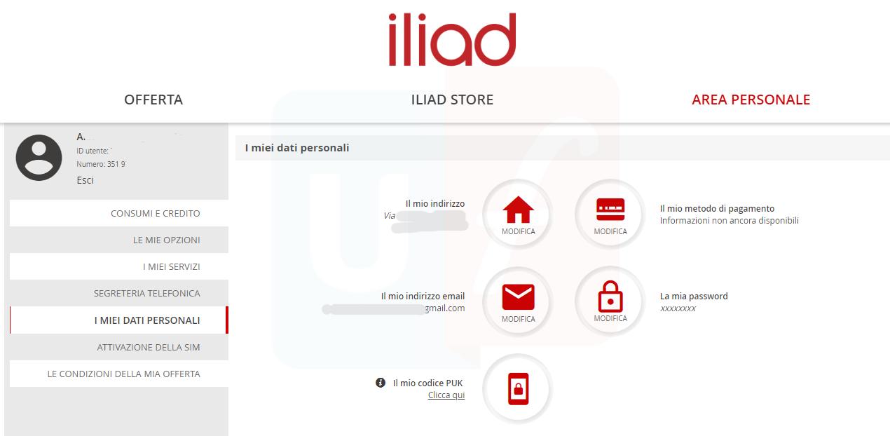 Dati personali Area Clienti Iliad