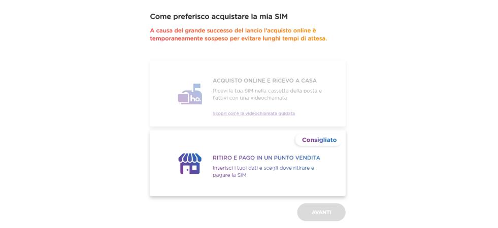 Acquisto SIM ho Mobile