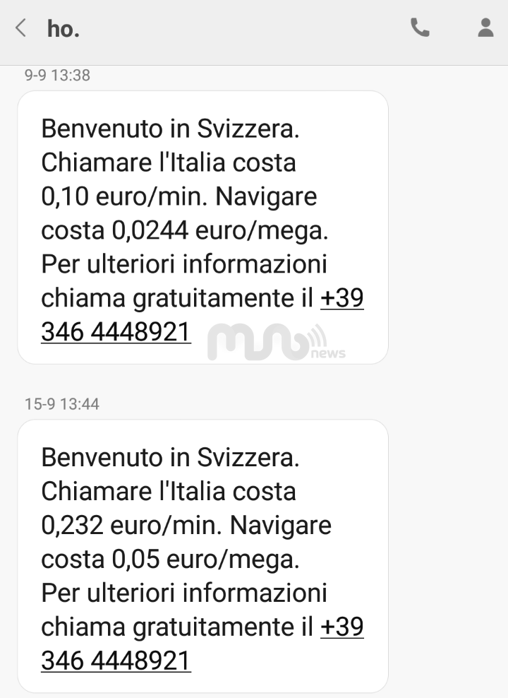 SMS ho. Mobile roaming Svizzera