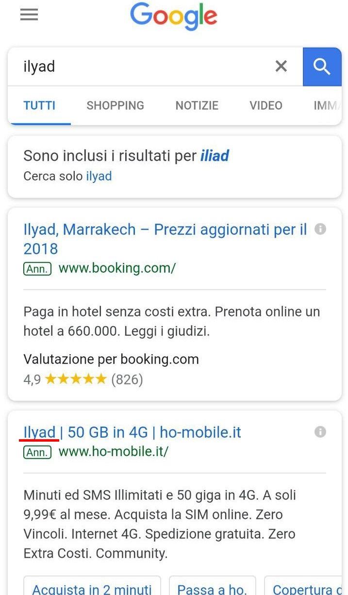 Screenshot google.it da mobile