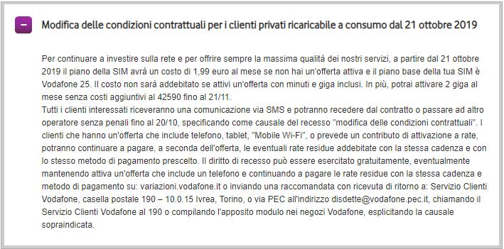Rimodulazione Vodafone 25