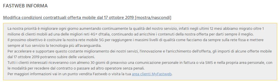 Modifica condizioni contrattuali Fastweb Mobile