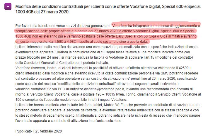 Rimodulazione Vodafone 27 marzo 2020