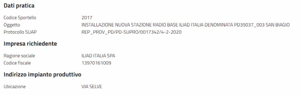 Stazione radio base iliad Teolo