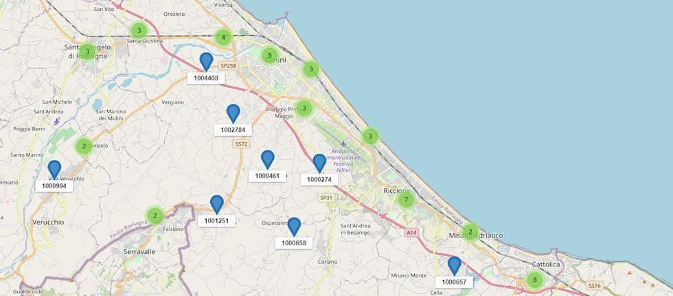 Impianti iliad attivi in provincia di Rimini al 3 luglio 2020
