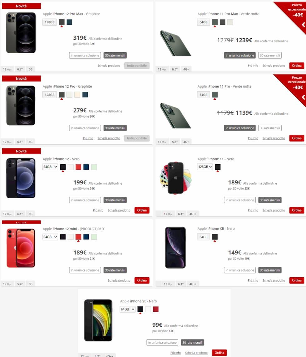 iPhone iliad online store 13 novembre 2020