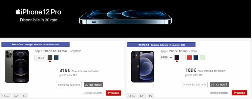 iliad online store iPhone 12 Pro e Mini