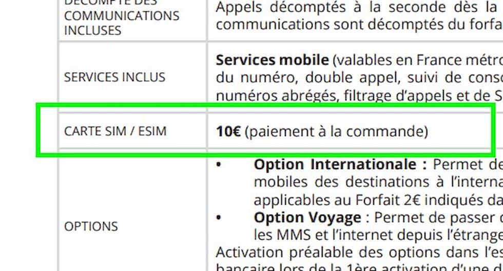 Brochure tariffaria Free Mobile eSIM