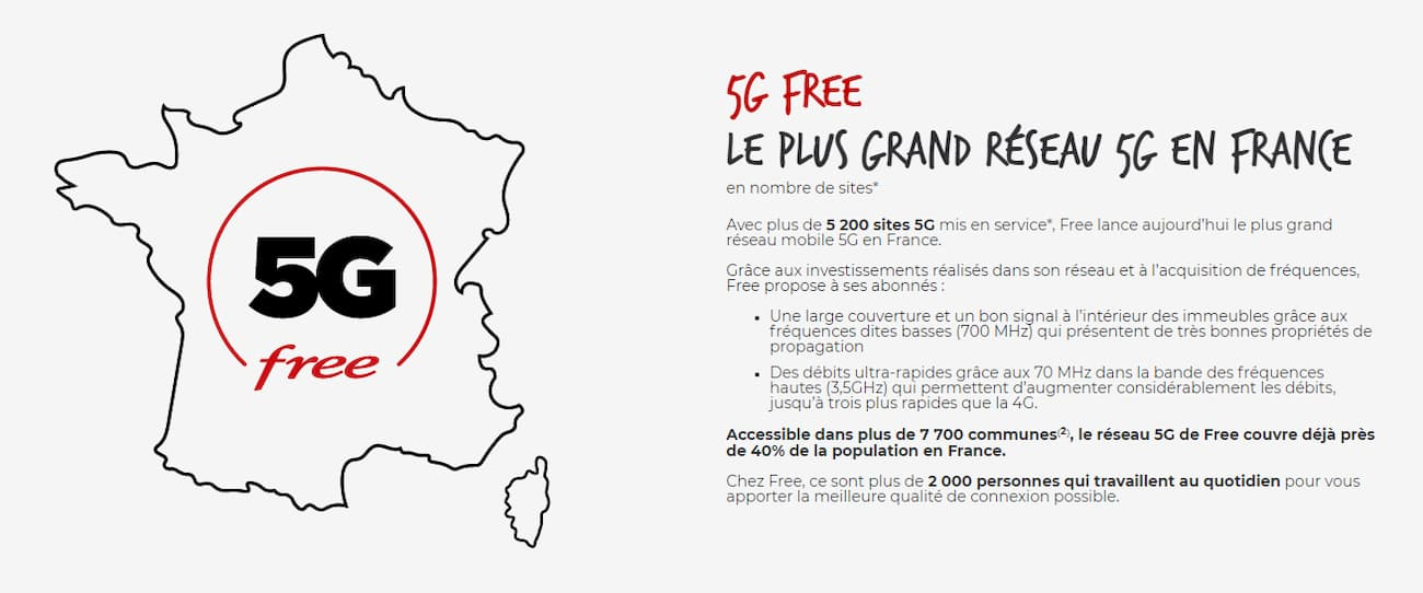 Mappa 5G Free Mobile