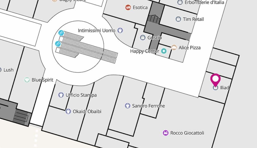 Mappa store iliad Euroma2
