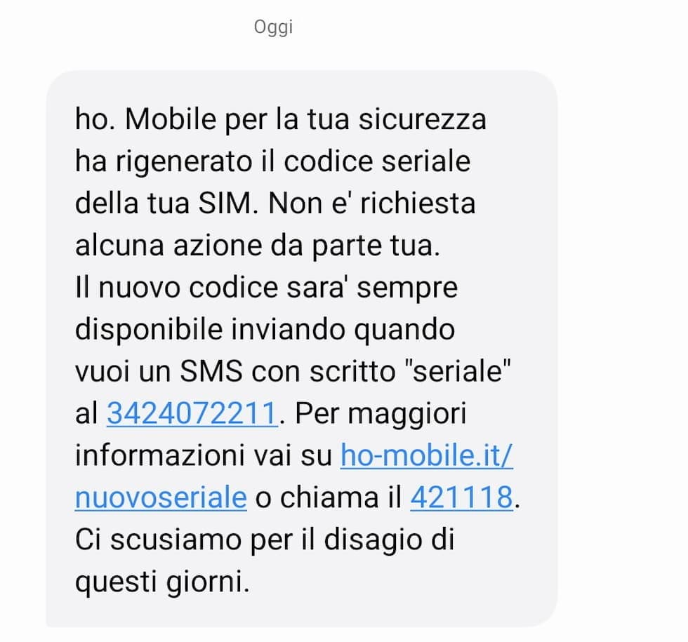 SMS ho. Mobile cambio ICCID