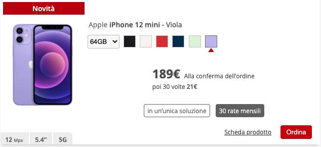 iPhone 12 mini Viola iliad